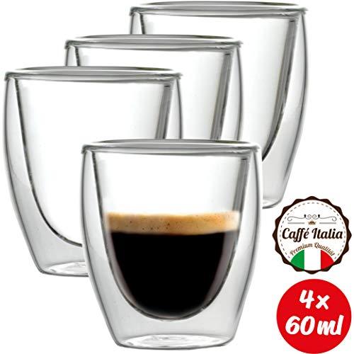 Caffé Italia Torino 4 x Tasse Double Paroi 60 ML - Tasse Expresso 8 cl - Espresso en Verre - Coffret de 4 Tasses à Café Double Paroi - Cadeau Parfait pour Toute Occasion