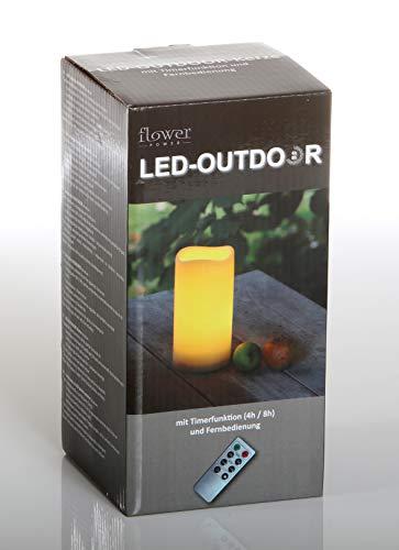 Flower Power LED Kerze Outdoor, Kunststoff, creme, 10x20cm