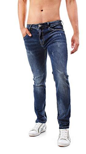 Instinct Jeans Uomo Slim Fit Risvolto Elasticizzati Denim Grigio Blu Skinny Cotone WA96 (34/48, Blu Slavato (6532))