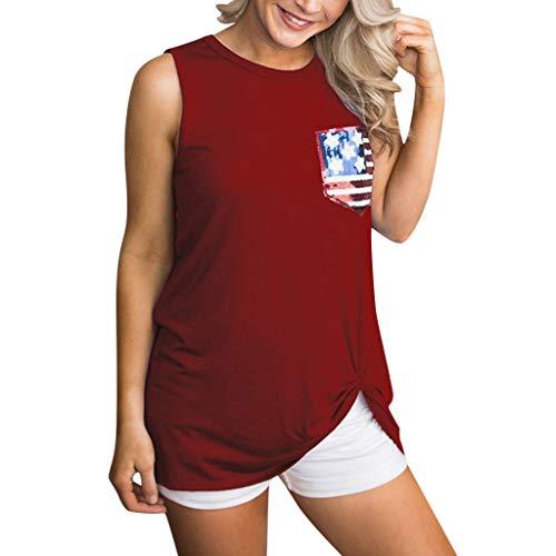 Bellelove。◕‿◕。Independence Day Damen Summer Tank Top Reine Farbe Tunika Rundhals Ärmelloses Shirt Lässig Bequemes Frauen Top (Halloween-kostüme 70 Off)