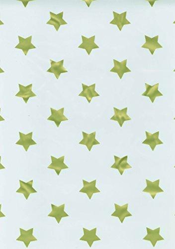 ecoSoul 'Toile cirée Nappe étoile Or Largeur 140 cm Longueur au Choix Facile Lisse, Tissu, Blanc/doré, 50 cm