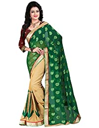 Sharnam Sarees Georgette Saree (Niharika_Green_Chiku_Multi-Coloured)