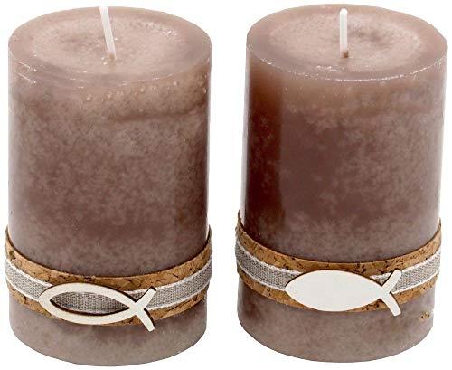 2 Stumpenkerzen Kerzen Stein Braun Taupe Kork Fisch Holz Tischdeko Kerzendeko Kommunion Konfirmation
