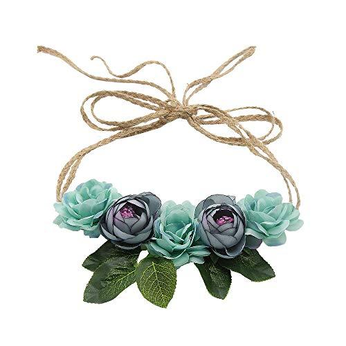 Haarband mit Krone, Blumenkranz, für Hochzeiten, Mädchen, Strand, Urlaub, Blumen, 2 Stück