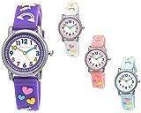Pure Time® Einhorn Unicorn Kinder-Uhr Mädchen-Uhr Kinder Armband-Uhr Pferd Pony Tier Silikon Armband Mädchen Uhr Kinderuhr Bunt Weiß Rosa Lila Türkis Gelb Sport-Uhr Lern-Uhr Schul-Uhr 3D (Lila)