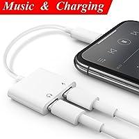 2 en 1 Adaptador de Lightning para iPhone 8/ 7/ X Plus Connector a 3,5 mm Aux Audio + Adaptador + Separador de carga, adaptador de llamada para auriculares2 en 1 adaptador de Lightning AUX Stereo Auriculares Audio Cable Splitter [Call + Charge + Control + Music] Compatible con iOS11