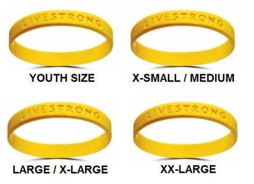 Gelbes Armband von Livestrong, in allen Größen erhältlich, XS-M für Jugendliche, M-XL für Erwachsene und XXL für große Erwachsene; Armband für einen guten Zweck aus Gummi und Silikon, gelb - Silikon-armband-nike