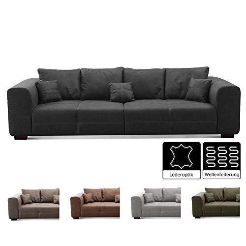 CAVADORE Big Sofa Mavericco inkl. Kissen / XXL-Couch mit tiefen Sitzflächen und modernem Design / 287 x 69 x 108 / Lederoptik dunkelgrau