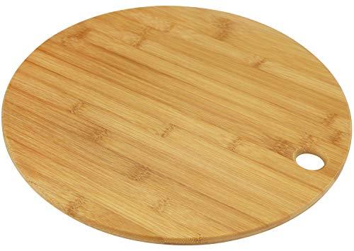 COM-FOUR Rundes Schneidbrett aus Bambus mit 35 cm Durchmesser, Servierbrett (01 Stück - 35cm /...