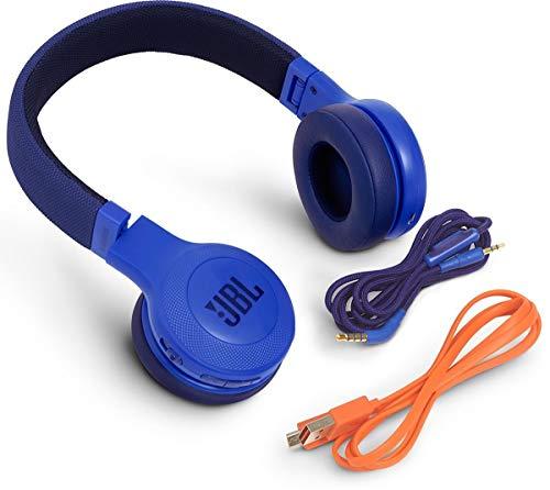 JBL E45BT On-Ear Ohraufliegender Bluetooth Kopfhörer Faltbar Inkl. Abnehmbares Verwicklungsfreies Textilkabel mit Universeller 1-Tasten-Fernbedienung mit Integriertem Mikrofon – Blau - 5