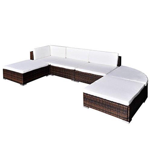 vidaxl divano da giardino 16 pz in polyrattan esterni marrone sofa con cuscini