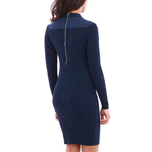 La Modeuse - Robe courte moulante en maille côtelée Bleu