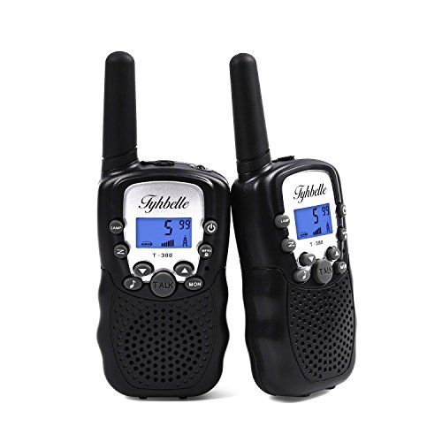 Tyhbelle 2 x Kinder Walkie Talkie PMR446 lizenzfrei 8 Kanäle Funkgerät mit LCD-Display und Lampe VOX-Funktion Walky Talky Ideal für Geschenk (2er-Schwarz)