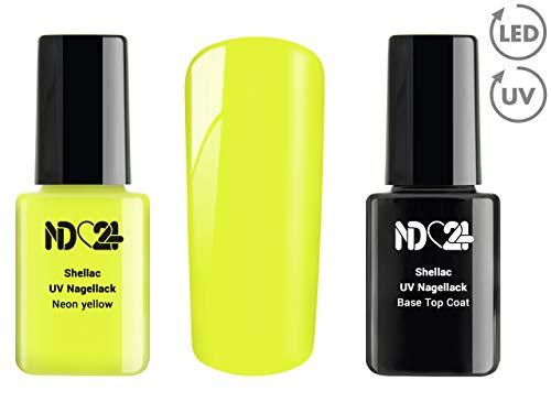 SHELLAC Spar SET - 1 x UV LACK + 1 x BASE TOP COAT - Neon yellow - GELB - UV Nagellack Polish Gel-Lack Schellack Soak Off - BESTSELLER Studio ()