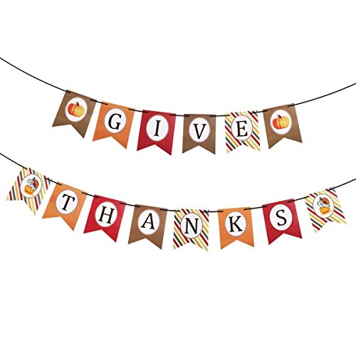 Veewon Thanks Give Paper Banner Hanging Garland Bunting Banner Thanksgiving Party Decoration With Black Silk Ribbon