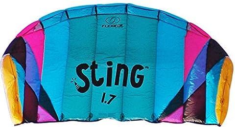 Aile 4 lignes Flexifoil 1,7m2 Power kite avec garantie de 90 jours Satisfait ou Remboursé! Sting Sport Foil est conçu par le recordman du monde et créateur de Powerkite - Sécurisé, Fiable et Résistant pour une utilisation familiale du Powerkite, Entrainement Kite et Introduction à la pratique avec aile de traction. by Flexifoil