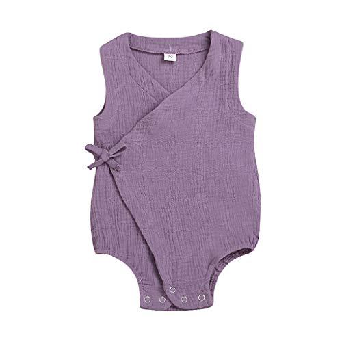 Ärmellos einfarbig lace-up Romper YunYoud Sommer Säuglingsbaby Mädchen Spielanzug Bodysuit Sommer leicht einfach Hemd Coole Kurzarm günstig Tops Sleeved Romper Set