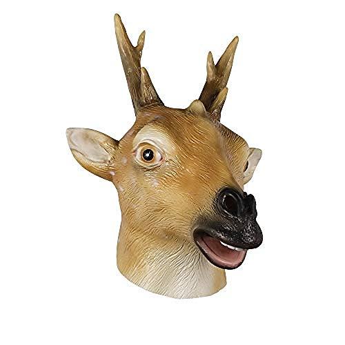 Máscara de Cabeza de Ciervo de látex Fiesta de Disfraces de Halloween Máscara de Cabeza de Animal de Goma Cornamenta de Ciervo@Amarillo y Blanco,Máscara de Halloween