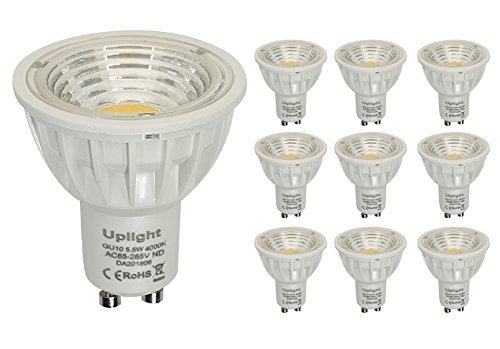 GU10 LED Lampen Ersetzt 50W Halogen Nicht Dimmbar Ra90 550LM Neutralweiss 4000k,90°Abstrahlwinkel 10er Pack.