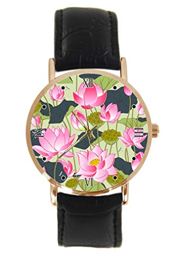 Blooming Pink Lotus Flowers Wrist Watch Fashion Classic Unisex Analogue Quartz Stainless Steel Case Leather Strap Watches