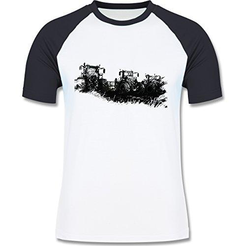 Landwirt - Traktoren Wiese - zweifarbiges Baseballshirt für Männer Weiß/Navy Blau