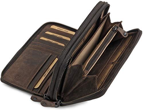6e5e0d6eb7bd8 Ven Tomy große Geldbörse Damen aus Leder mit Reißverschluss - Portemonnaie  groß mit RFID Schutz - Geldbeutel mit 30 Karten Fächer braun Dunkelbraun