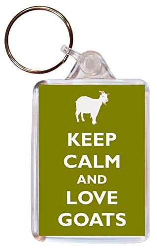 Keep Calm and Love Goats / Goat - Double Sided Large Keyring Gift/Present Key Fob Chain Name Tag