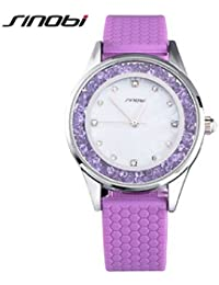 Relojes Hermosos, Mujer Reloj de Moda Cuarzo Resistente al Agua Silicona Banda Morado Marca- SINOBI ( Color : Blanco , Género : Para Mujer )