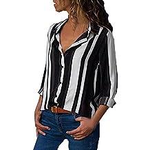 8299b9b76a8 VECDY Camisa Casual De Manga Larga para Mujer Bolsillos con Cuello  Abotonado Botones En La Parte