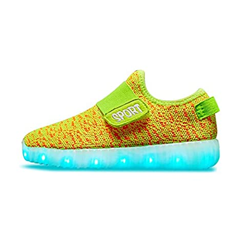 TULUO Enfants & Garçons & Filles Chaussures LED USB Chargeur Sneakers Enfants Flashing Trainers Yellow 34 EU