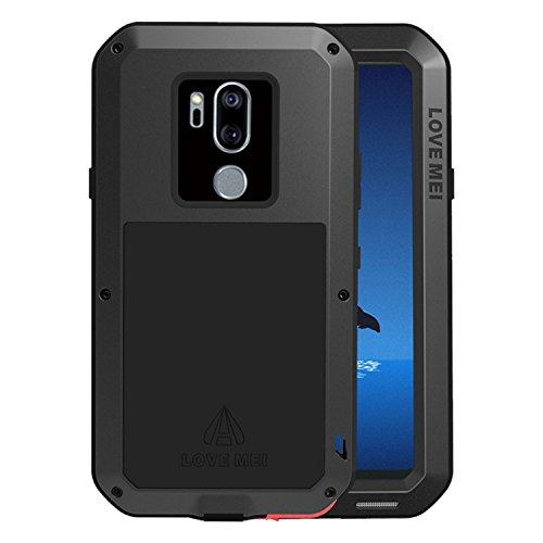 Simicoo LG G7 ThinQ Hülle Hybrid Aluminium Metall Stoßfest Schutz Bumper Militär Starkes Silikon Schraube Gorilla Glas staubdicht stoßen Heavy Duty Gehäuse Handyhülle für LG G7 ThinQ Black
