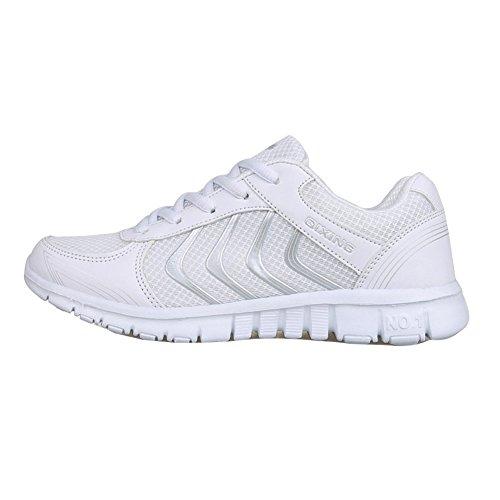 Athletic Mesh Breathable Sneakers Running Sport Schuhe Für Frauen / Damen / Mädchen (EU 42, Weiß) (Sneakers Athletic Running)