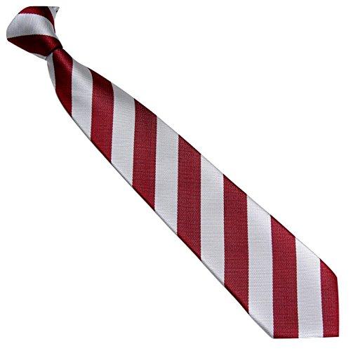 Schmale Krawatte 7cm Streifen College Design Silber Rot gestreift - Binder Gewebte Microfaser Seiden-Optik - Herrenkrawatte z Anzug - Herren Schlips (Gewebte Seide Cambridge Krawatte)