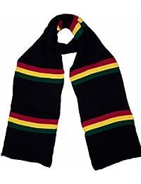 Large Rasta reggae colour Bob Marley style thick jacquard scarf stripe