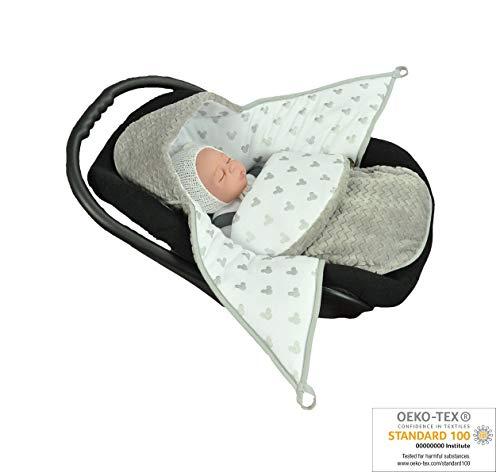 MoMika Babyfußsack Baby Fußsack Babyschale Kuschelsack Babydecke Kinderwagen aus Baumwolle Zickzack (Grey)