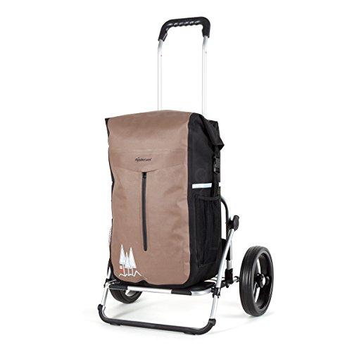 XXL Royal Einkaufstrolley | extra große Reifen | abnehmbare Einkaufstasche als Rucksack verwendbar, wasserdicht | braun