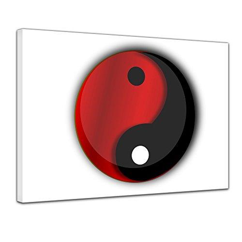 Bilderdepot24 Kunstdruck - Ying Yang - Bild auf Leinwand 70 x 50 cm - Leinwandbilder - Bilder als Leinwanddruck - Wandbild Geist & Seele - Asien - Buddhismus - Zeichen in schwarz und rot