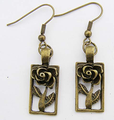 Jugendstil Ohrringe Rose, Farbe Bronze, Charme und Haken Modern Style
