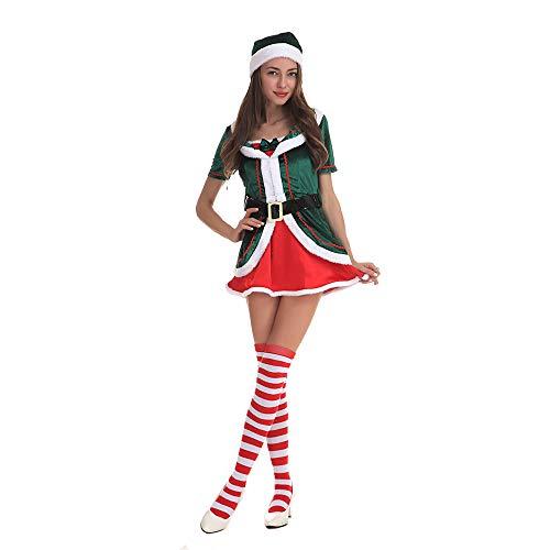 (Peggy Gu Weihnachtswäsche für Frauen Kostümmädchen Santa Helfer Elf Erwachsene Kostüm Sexy roter Babydoll-Body von Santa (Größe : XXL))