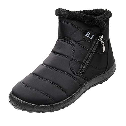 HDUFGJ Damen Schneeschuhe Plus Samt Warm halten rutschfeste Wasserdicht Outdoor-Schuhe für Sport Hiking Trekking-& Wanderhalbschuhe Verschleißfest Freizeitschuhe Laufschuhe Bequem37 EU(Schwarz)