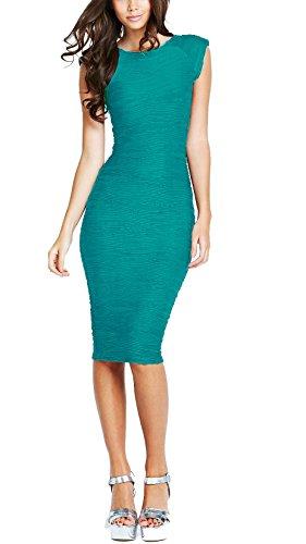 REPHYLLIS Damen Elegant hoch Taille Stretch Euti Knielang Pencil Party Kleider DE Größe .36-44 Grün