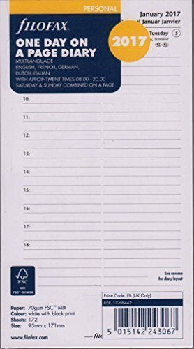 Filofax 000017-68442 Personal 1 Tag pro Seite multilingual 2017, Kalender, Planer und Organizer