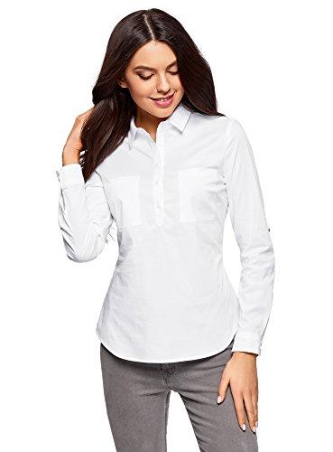 oodji Ultra Donna Camicia Basic con Tasche sul Petto Bianco IT 42 / EU 38 / S