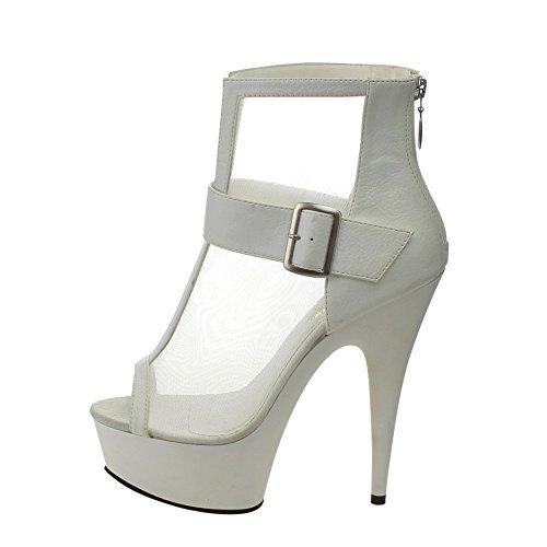 Pleaser masturbateur delight 600–23 sexy plateau high heels femme, blanc mat Wht Faux Leather-Mesh/Wht