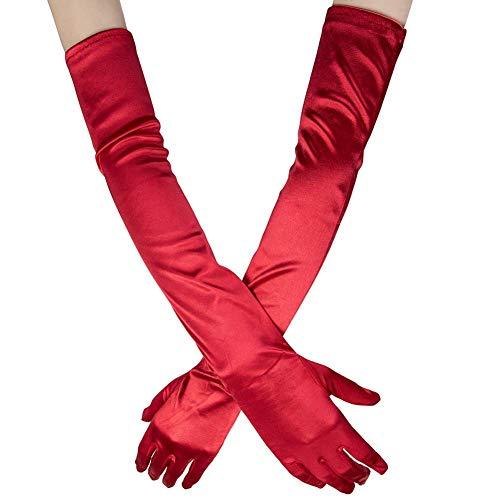n Lange Raso Handschuhe Satin Classic Opera Fest Party Hochzeit Braut Handschuhe 1920er Stil Handschuhe Elastisch Erwachsene Größe bis Handgelenk Länge (52cm-rot) ()