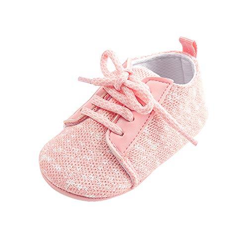 Morbuy Leinen Baby Schuhe Mädchen und Jungen Kleinkind Babyschuhe Neugeborene Anti-Rutsch Weiche Alleinige Krabbelschuhe Wanderer Weiche Alleinige Schuhe (13cm / 12-18 Monat, Rosa) (Herren Blau Kleid Schuhe Größe 14)