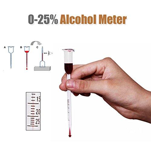 Bluelover 0-25 Grad Glas Wein Alkohol Meter Weinwaage Konzentration Mess-Werkzeug