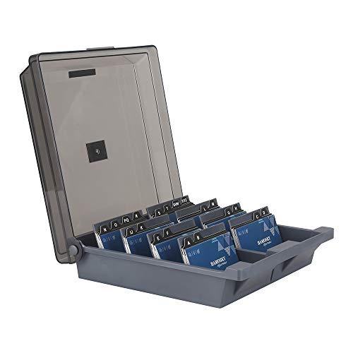 Hamosky Boîte de rangement pour cartes de visite Rolodex 1000 cartes, 4 intercalaires et guides A-Z Gris