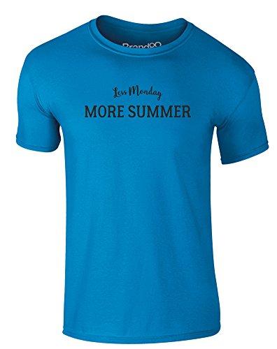Brand88 - Less Monday, More Summer, Erwachsene Gedrucktes T-Shirt Azurblau/Schwarz