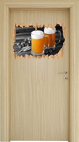 Deux verres de bière Hefeweizen avec hop sur la table en bois percée en bois noir / blanc aspect 3D, la taille de la vignette mur ou de porte: 62x42cm, stickers muraux, sticker mural, décoration murale
